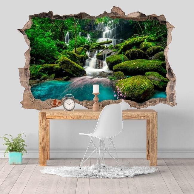 Adesivi da parete 3D cascate nella giungla