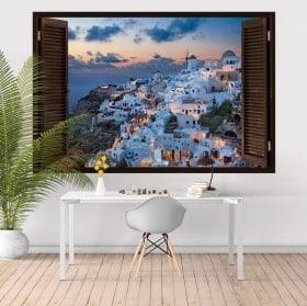 3D adesivi finestre Santorini Mar Egeo