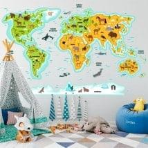 Adesivi per bambini mappa del mondo animali