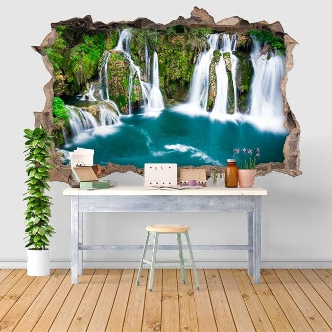 Adesivi da parete 3d cascate in martin brod for Adesivi parete 3d