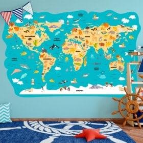Vinile dei bambini mappa del mondo animali