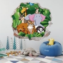 Adesivi 3D dei bambini animali degli zoo