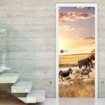 Gli animali da safari adesivi porte