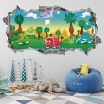 Bambini adesivi 3D parco giurassico