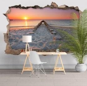 Adesivi da parete 3D spiaggia al tramonto