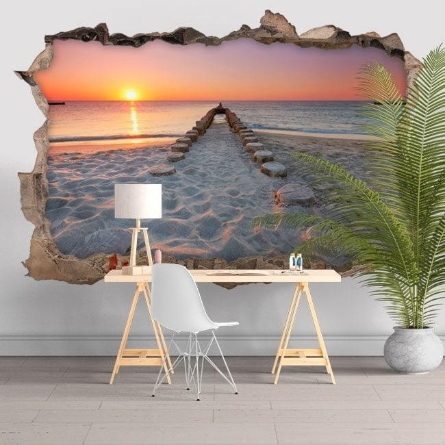 Adesivi da parete 3d spiaggia al tramonto for Adesivi da attaccare al muro