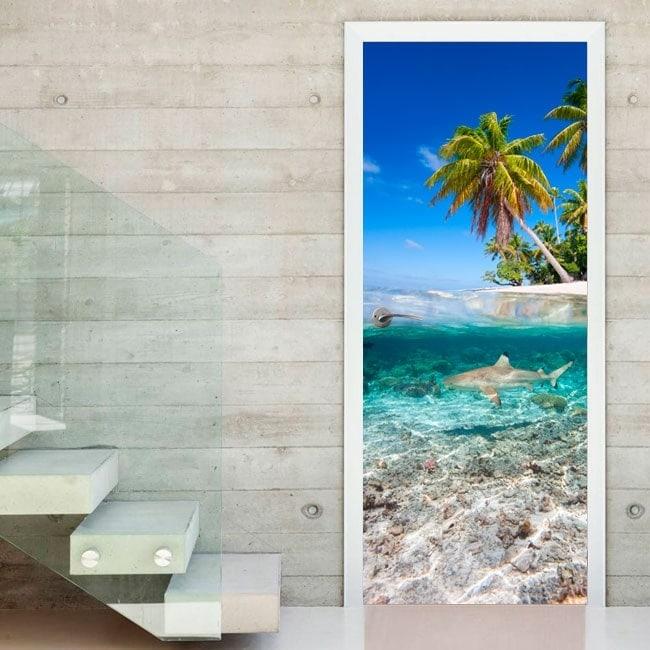 Adesivi per le porte squalo in mare - Adesivi decorativi per porte ...