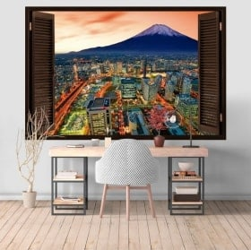 Yokohama e Mount Fuji 3D finestre in vinile