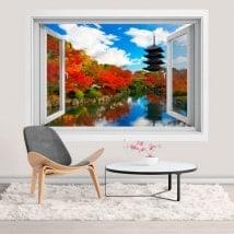Finestre 3D adesivi Toji pagoda a Kyoto