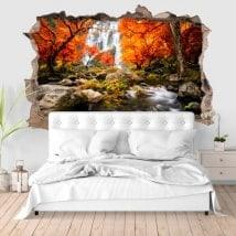 Adesivi delle pareti cascate 3D in autunno