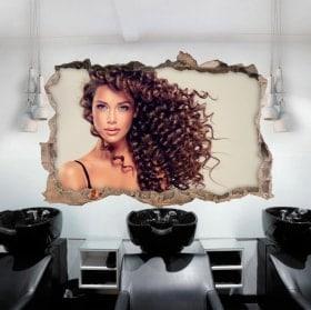Adesivi da parete parrucchiere con stile 3D