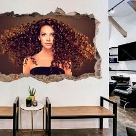 Adesivi da parete per parrucchieri con stile 3D