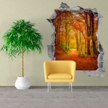 Vinile parete strada in autunno 3D