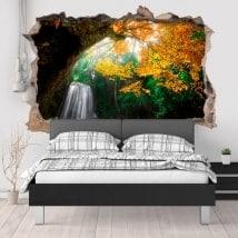 Adesivi per la parete cascata nella foresta 3D