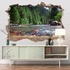 Adesivi murali Colorado montagne fiume 3D