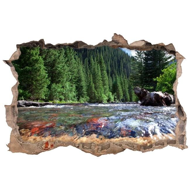 Adesivi murali colorado montagne fiume 3d for Adesivi murali 3d