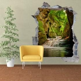 Decalcomanie da muro Finnich Glen Scozia cascate 3D