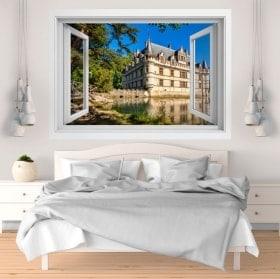 Finestra di vinile 3D castello di Azay-le-rideau Francia