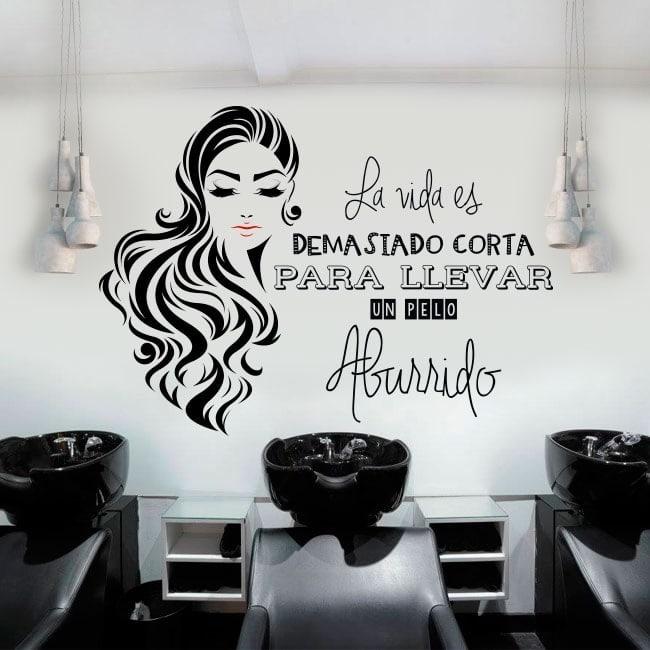 Adesivi saloni di capelli silhouette e frase