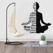 Adesivi da parete silhouette testo Buddha