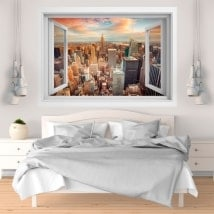 3D finestra di vinile New York city tramonto