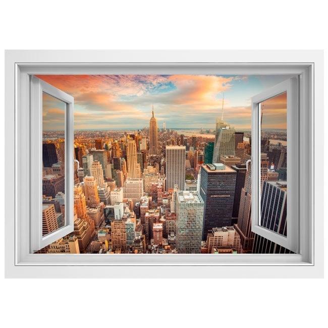 3d finestra di vinile new york city tramonto for Finestra new york