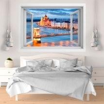 3D finestra in vinile Budapest ponte delle catene