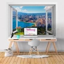 Finestre in vinile 3D spiagge Honolulu Hawaii