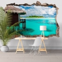 Adesivi da muro isola laguna blu 3D