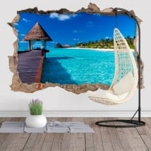 Decalcomanie decorative 3D isola lagunare blu