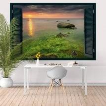 Finestra tramonto California Malibu Rocky Beach 3D