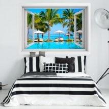 Finestra in vinile 3D spiagge dell'isola Maurizio