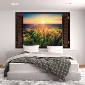 Adesivi murali finestra tramonto montagne 3D