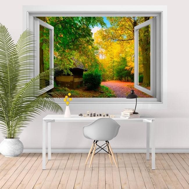 Adesivi da parete finestra casa di campagna 3d - Specchi adesivi da parete ...