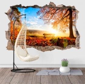 Adesivi da parete 3D tramonto in campagna