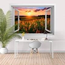 Adesivi per parete tramonto sul campo 3D