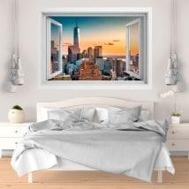 Adesivi da parete tramonto a Manhattan 3D