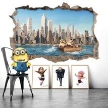 Adesivi da parete minions in New York 3D