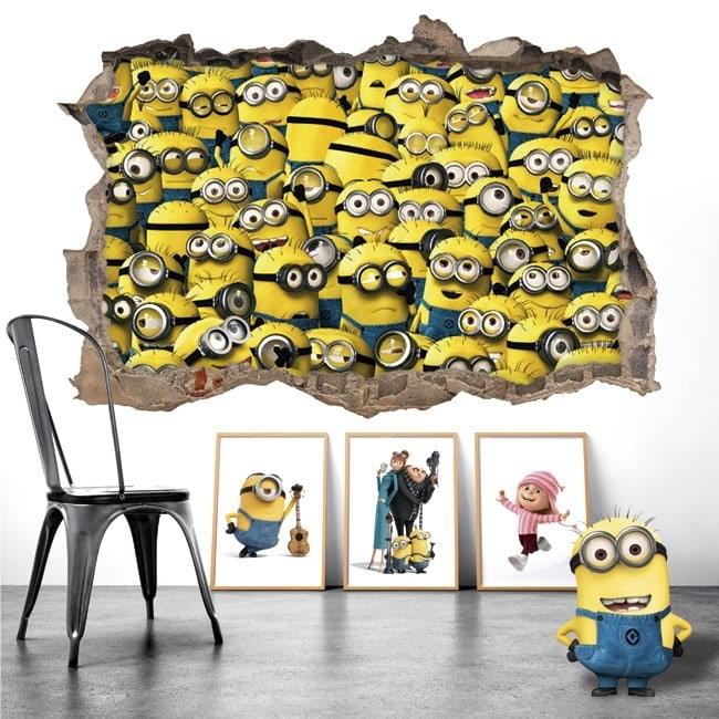 Adesivi murali minions 3d for Adesivi murali 3d