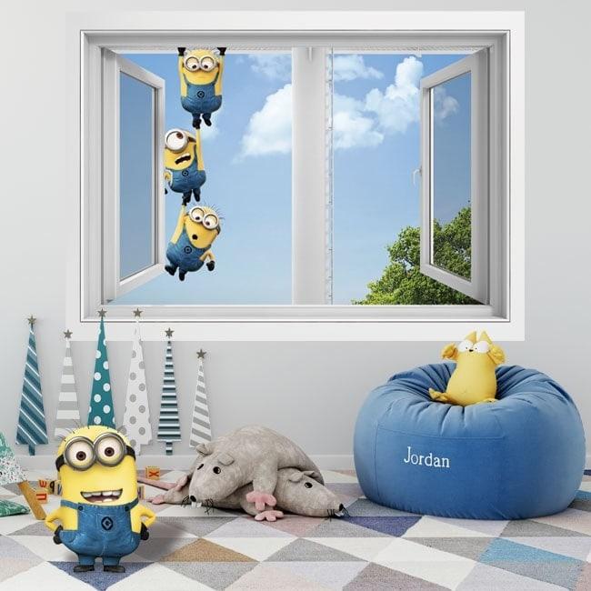 Adesivi da parete finestra minions 3D