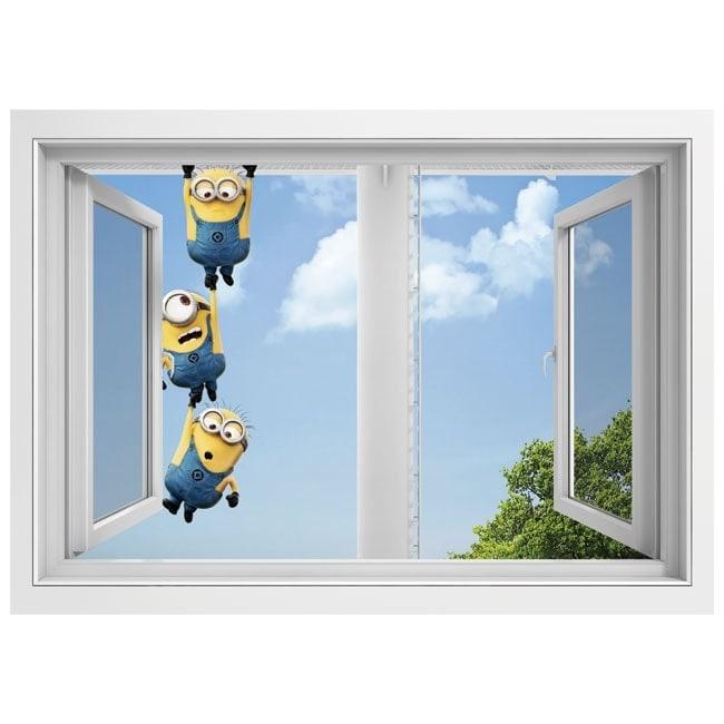 Adesivi da parete finestra minions 3d for Adesivi parete 3d
