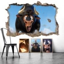 Adesivi da muro Ferdinando il toro 3D