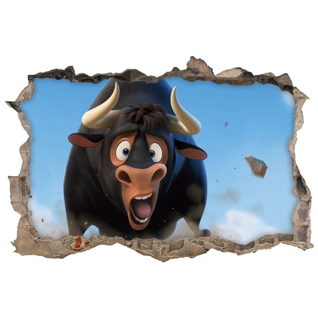 Adesivi da muro ferdinando il toro 3d for Adesivi da attaccare al muro