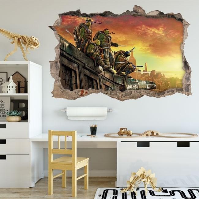 Adesivi da parete le tartarughe ninja 3d for Adesivi parete 3d