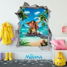 Adesivi da parete bambini Disney Moana 3D