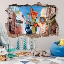 Vinile a muro bambini zootopia 3D