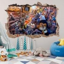 Adesivi da parete per bambini zootopia 3D