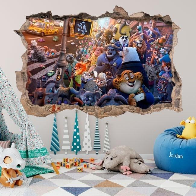 Adesivi da parete per bambini zootopia 3d for Adesivi parete