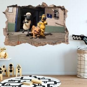 Vinili foro della parete Shaun 3D pecore