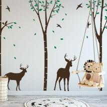 Vinile decorativo cervo nella foresta